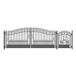 Venice Swing Dual Steel Driveway with Pedestrian Gate