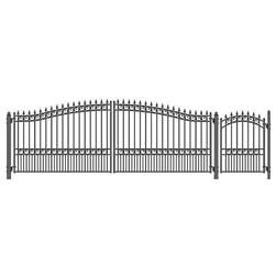 Set of ALEKO® LONDON Style Steel Swing Single Driveway 5.5 m with Pedestrian Gate 1.2 m