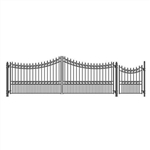 Set of ALEKO® MOSCOW Style Steel Swing Single Driveway 18 ft with Pedestrian Gate 4 ft