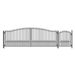 Set of ALEKO® MUNICH Style Steel Swing Single Driveway 18 ft with Pedestrian Gate 4 ft