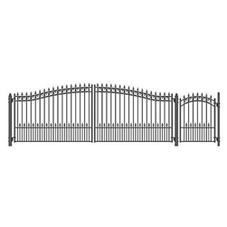 Set of ALEKO® PRAGUE Style Steel Swing Dual Driveway 18 ft with Pedestrian Gate 4 ft