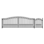 Set of ALEKO® ST.PETERSBURG Style Steel Swing Dual Driveway 18 ft with Pedestrian Gate 4 ft