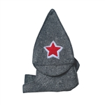 Natural Sheep Wool Traditional Russian Sauna Hat - Unisex - Charcoal with Embroidered Star - ALEKO