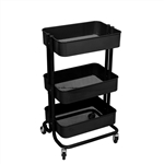 Lightweight Carbon Steel 3-Tier Rolling Utility Trolley Cart - Black - ALEKO