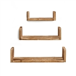 Rustic Wood Wall Mount Storage Floating U-Shaped Shelves - Set of 3 - ALEKO