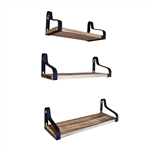 Rustic Wood Wall Storage Floating Shelves - Set of 3 - ALEKO