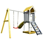 Outdoor Wooden Swing Playset with Swing, Slide, Steering Wheel, and Rock Climbing Ladder - ALEKO