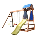 Outdoor Wooden Swing Playset with Dual Swings, Slide, Glider, and Shaded Fort - ALEKO