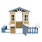 Traditional Outdoor Wooden Playhouse with Mailbox, Picket Fence, Serving Station, and Bench - ALEKO