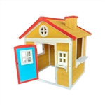 Traditional Outdoor Wooden Playhouse with Door, Windows, Serving Station, and Flower Pot Sills - ALEKO