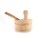 Aspine Wood Sauna Bucket with Plastic Liner and Water Scoop