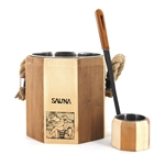 Pine Sauna Bucket with Poplar Water Scoop and Stainless Steel Liner - ALEKO