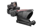 Trijicon ACOG 4x32 Scope, Dual Illuminated Red Chevron .223 Ballistic Reticle, 3.25 MOA RMR Sight, and T1A51 Mount