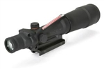TRIJICON ACOG 5.5x50mm Dual Illuminated Red Chevron Flat Top .308 Ballistic Reticle with Flat Top Adapter