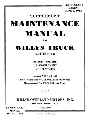 "Special Supplement on 6x6 Willys MB ""Tug"", 1943 Edition"