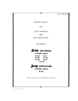 Jeep Service (Shop) Manual, Early CJ models, CJ-2A, 3A, 3B, Early -5, Early -6 and DJ-3A, 280 pages