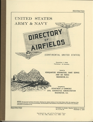 Army Air Forces, Directory of Airfields (Continental United States)