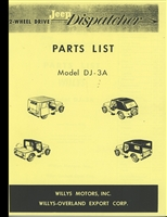 Illustrated Parts List for 2-Wheel Drive Jeep Dispatcher, Model DJ-3A