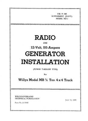 US Navy Installation Manual Radio and 12v 55a Generator (GPW / MB Radio Jeeps)