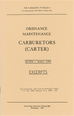 Carter Carburetor Service Manual 539S (GPW / MB)
