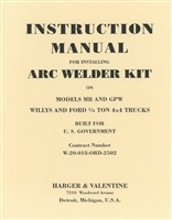 Arc Welder Kit for G503.  Installation manual for MB/GPW.  20 pages.