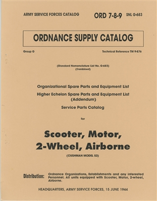 ORD 789 G683 Illustrated Parts Manual, Cushman Airborne Scooter