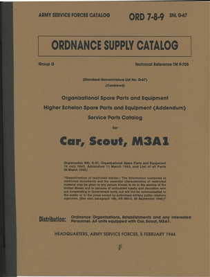 ORD 789 G67 Complete Illustrated Parts. White Scout Car - M3A1 (G67)