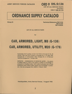 ORD 9 G136 Illustrated Parts for Armored Car M8/M20 (G136, 176).