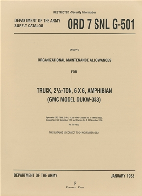 ORD 7 G501 DUKW Basic Parts Manual