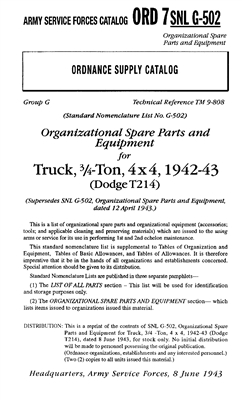 ORD 7-G502 Tools & Equipment for WW2 Dodge 3/4 Ton Trucks
