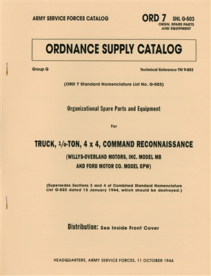 ORD 7 G503 Spare Parts and Equipment Listing for MB & GPW (1944)