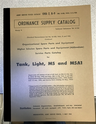 ORD 789 G103 Tank, Light, M5 and M5A1 (Stuart Tank)