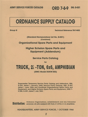 ORD 789 G501 Illustrated Parts GMC 2/12 Ton Amphibian