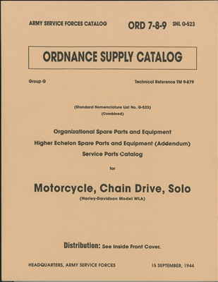 ORD 789 G523 Illustrated Parts Guide Harley WLA