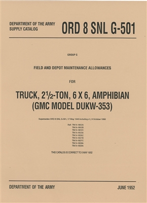 ORD 8 G501, Listing of GMC Amphibious DUKW Parts