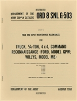 ORD 8 G503 Spare Parts and Equipment Listing for MB/GPW (1951)