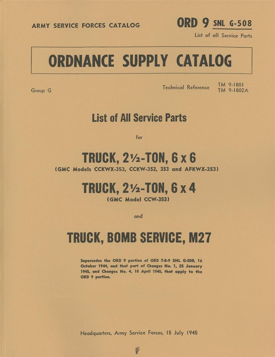 ORD 9 G508 Parts Manual