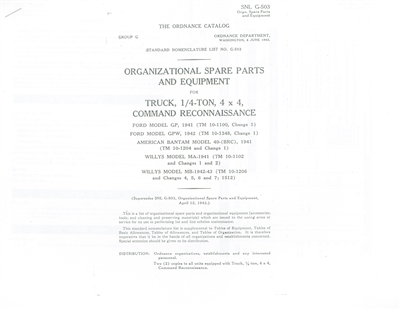 GPW / MB Organizational Spare Parts & Equipment Manual