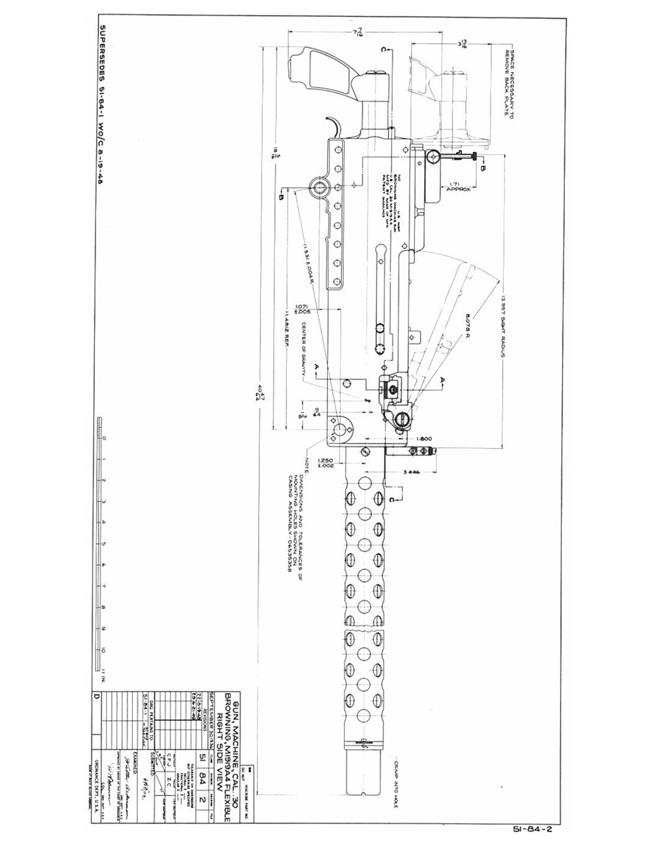 Description of Manufacture (Blueprints) Browning M1919  30 Caliber  Automatic - Rock Island Arsenal, 1944