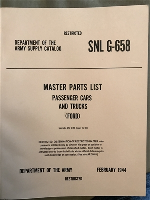 SNL G-658 Ford Master Parts List Last 1944 Printing (G658)