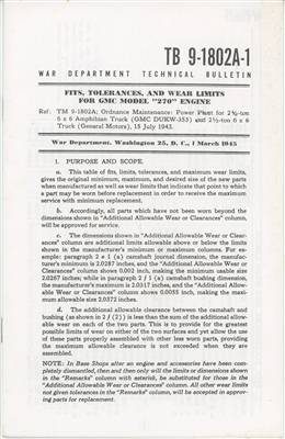 TB 9-1802A-1 Technical Bulletins on GMC Model 270 Engine used in DUKW & CCKW (G508/501)