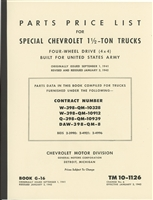 TM 10-1126 Parts Manual (Early QM Publication) Chevrolet 1 1/2 Ton 4x4 Truck (G506).  181 pages.