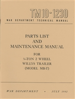 TM 10-1230 G529 Parts List and Maintenance Manual for MB-T Trailer