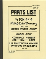 TM 10-1348 Illustrated Parts Manual for Ford GPW, Change 1, 10 April 1942