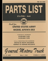 TM 10-1450 Parts Manual for 2 1/2 Ton 6x6 Model AFKWX-353