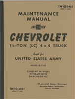 TM 10-1461 Maintenance Manual for Chevrolet 1 1/2 Ton G506/G-7105 Panel Truck