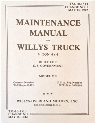 TM 10-1513 Maintenance Manual for Willys Truck, Change 1 dated May 15, 1942