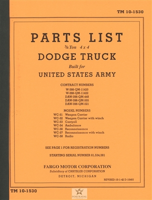 TM 10-1530 Parts Manual Dodge 3/4 (G502)