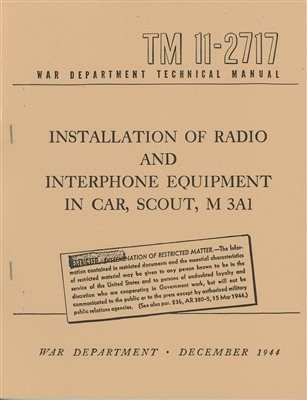 TM 11-2717 Installation of Radio Equipment in Car, Scout, M3A1