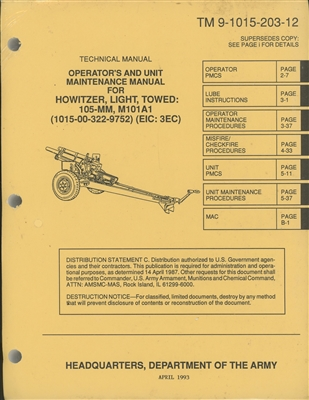 TM 9-1015-203-12 Operator's and Unit Maintenance Manual for Howitzer, Light, Towed: 105-MM, M101A1